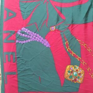 Vintage Channel Silk Scarf Red Green Lady 35x35